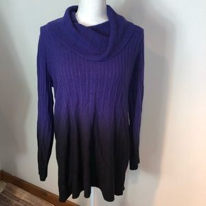 🔴3/$25 Notations Cowl Neck Purple Ombré Sweater